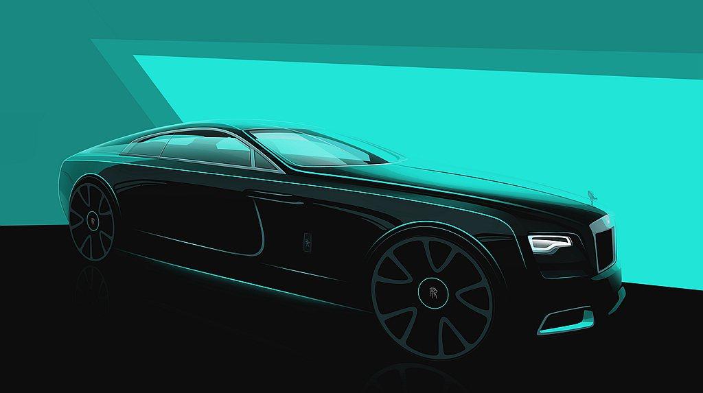 勞斯萊斯Wraith「隱匿之鑰」車身以深灰色(Dark Grey)作為底色,加之...