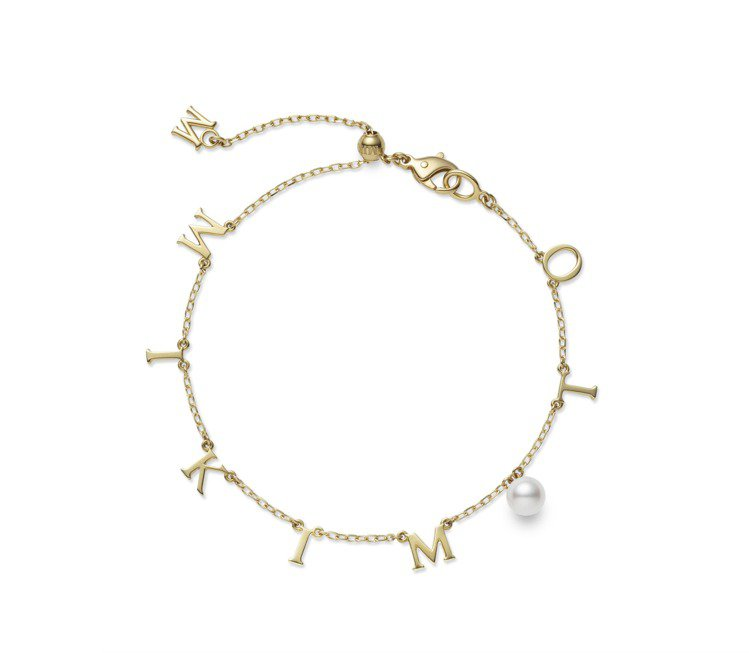 MIKIMOTO Logo吊墜珍珠手鍊,18K黃金款42,000元,18K粉紅金...