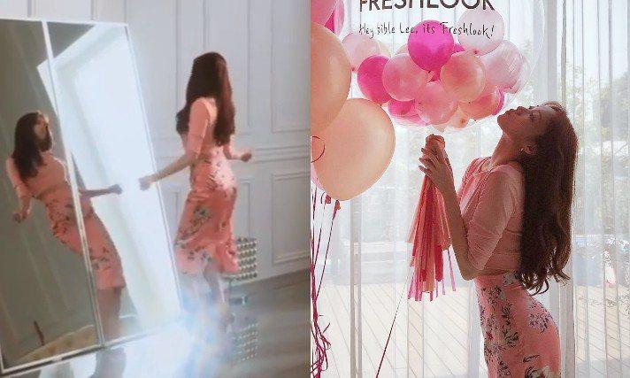 李聖經穿Blumarine淺粉紅色緞面花卉窄裙,不只熱舞還大秀凹身體技巧,性感魅...