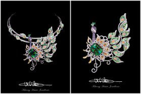 方國強高級訂製珠寶 42克拉翠綠碧璽成就耀眼華麗孔雀