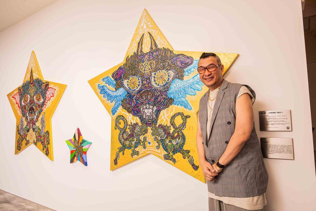 時尚教父洪偉明與小松美羽的藝術畫作「三星一體」。圖/凱渥提供
