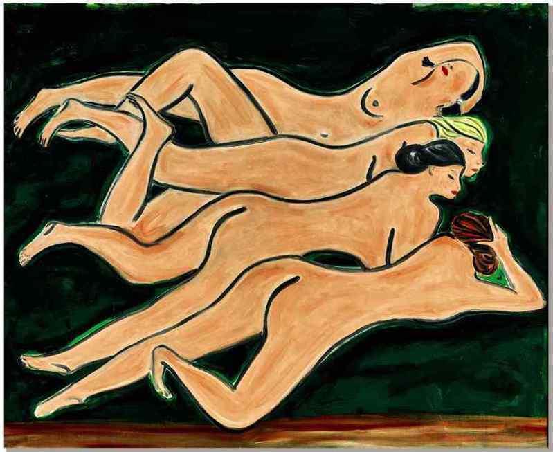 常玉「綠色背景四裸女」。圖/蘇富比提供
