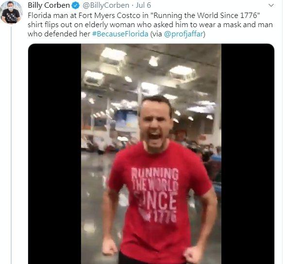 佛州一名男子在好市多商場沒戴口罩還發飆,結果遭公司炒魷魚。圖/取自推特