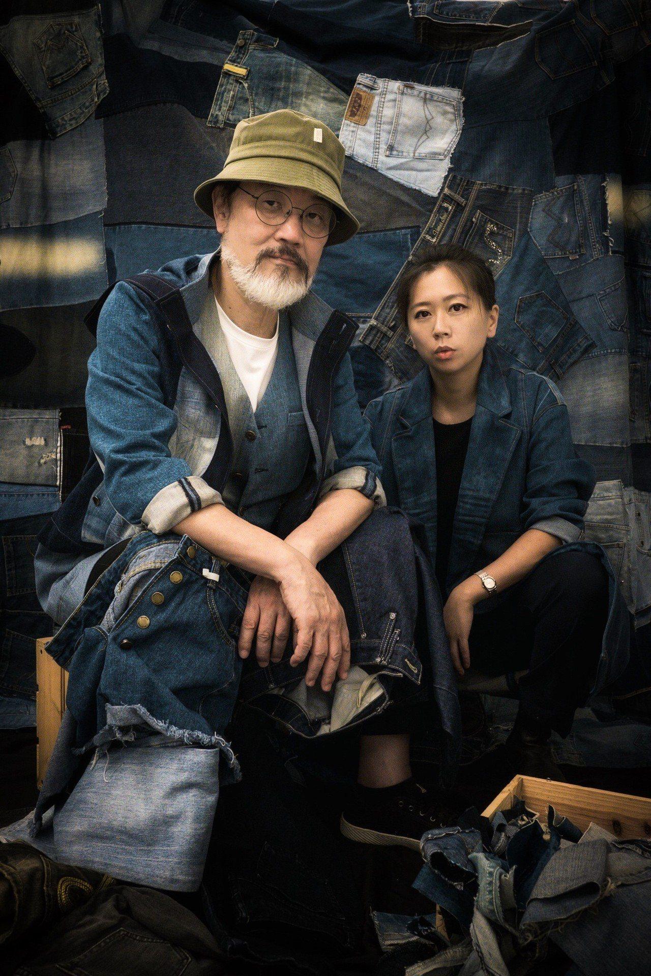 林經甫(左)支持年輕品牌Story Wear的「再生衣」環保概念,穿起牛仔當起時...