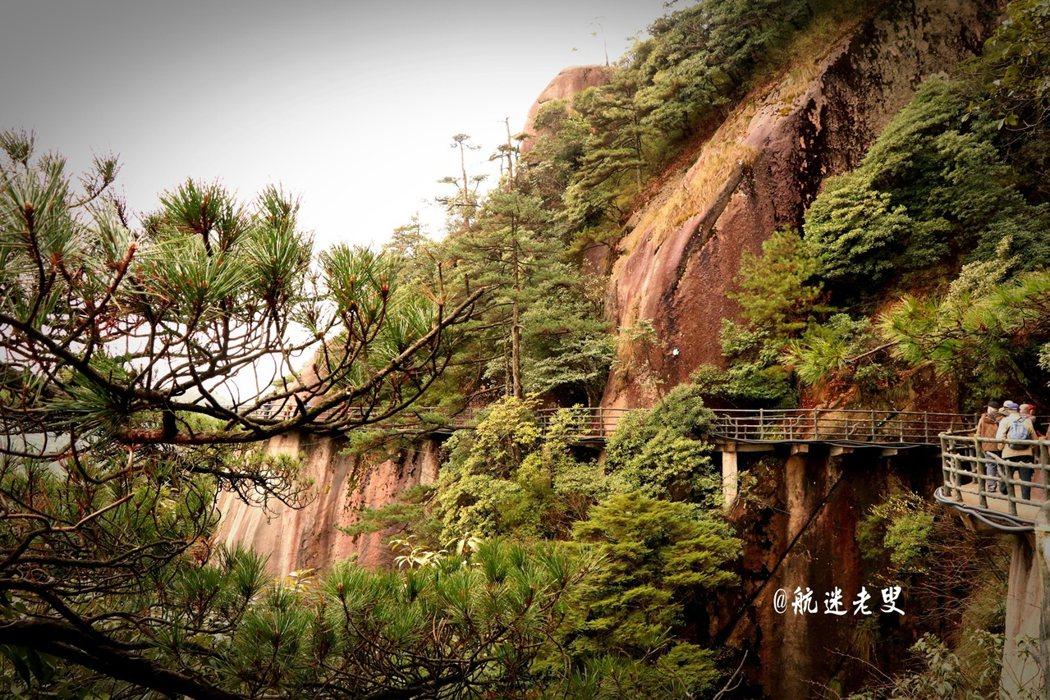 棧道修的非常好,延山崖而建,觀景極佳,遠處的山脈、雲霧沒有任何樹林的遮擋,奇松怪石很有黃山的感覺,挺拔的山峰隨處可見,難怪有小黃山之譽。