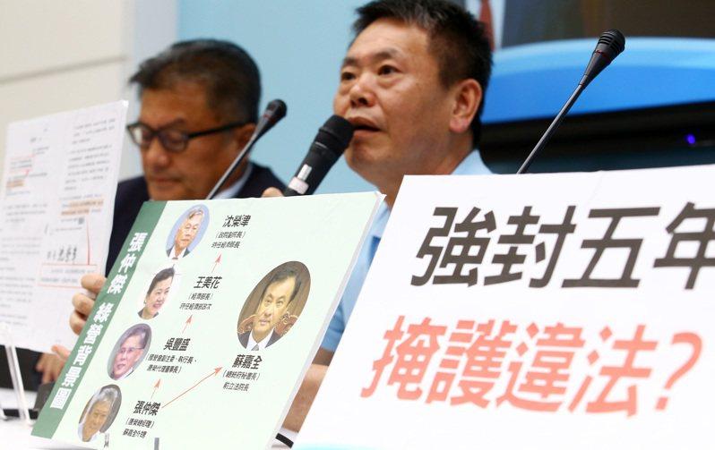 國民黨立委林為洲(右)、孔文吉(左)昨揭露唐榮鐵工廠總經理張仲傑遭調查弊案,公文被時任經濟部長沈榮津列為密件,不公布也不處理。記者杜建重/攝影