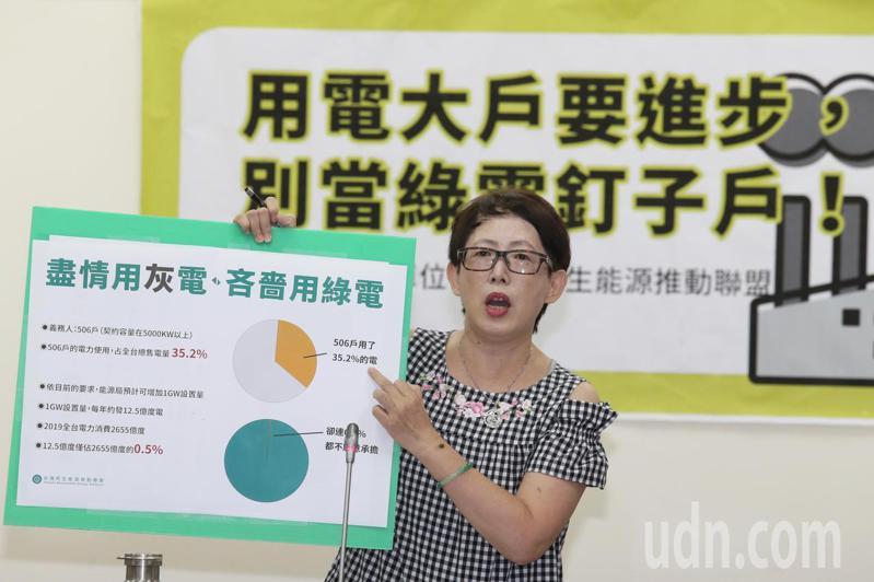 台灣再生能源推動聯盟理事長高茹萍要求用電大戶不要再拖延,應跟上國際綠能趨勢並推動台灣積極減碳。記者林伯東/攝影