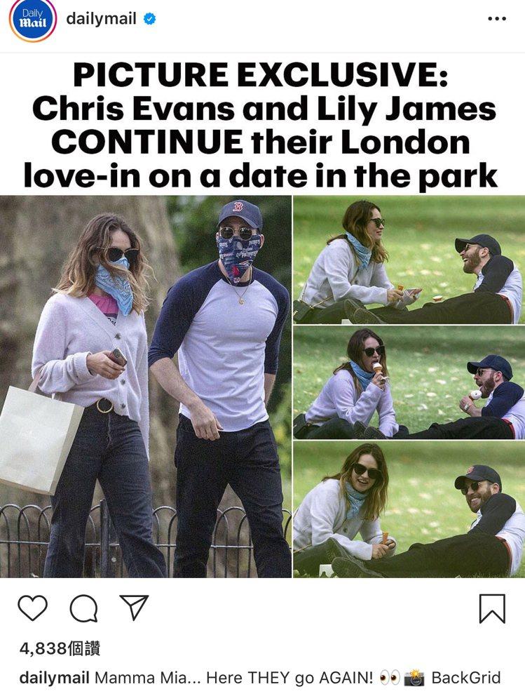 克里斯伊凡與莉莉詹姆斯又被拍到約會。圖/摘自Daily Nail Instagr...