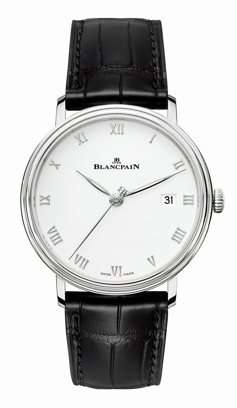 Blancpain,Villeret Ultraplate腕表,自動上鍊機芯,精鋼,38毫米,時間顯示,30萬2,000元。圖 / Blancpain提供。