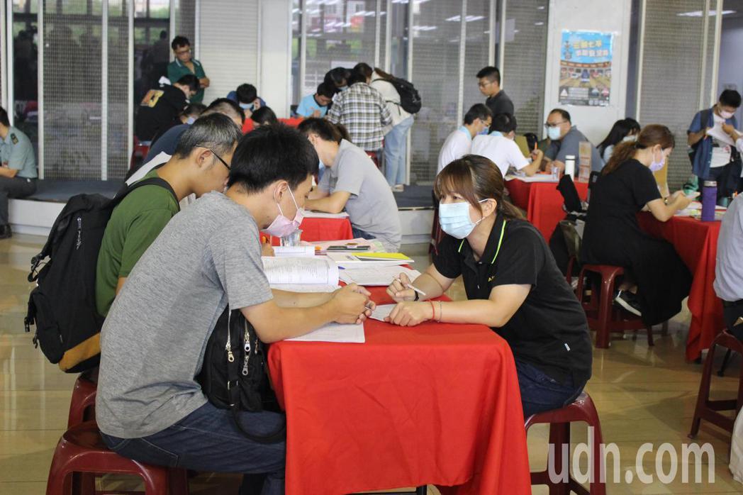 彰化縣政府今天舉行中型就業博覽會,民眾踴躍。記者林敬家/攝影