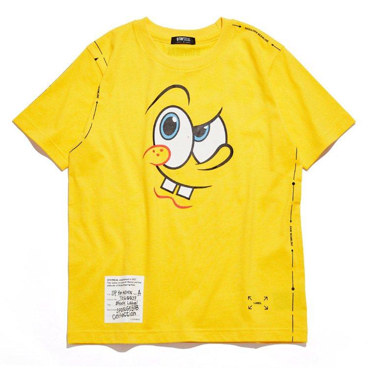 Stayreal與海綿寶寶聯名系列特製款的海綿寶寶T恤1,280元。圖/Stay...