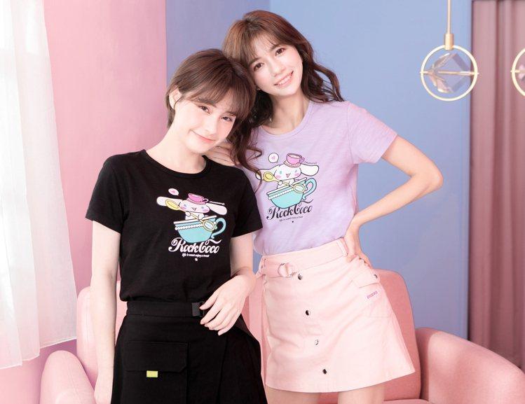 ROCKCOCO與Sanrio聯名系列搖擺吧!喜拿短袖T恤1,180元。圖/RO...