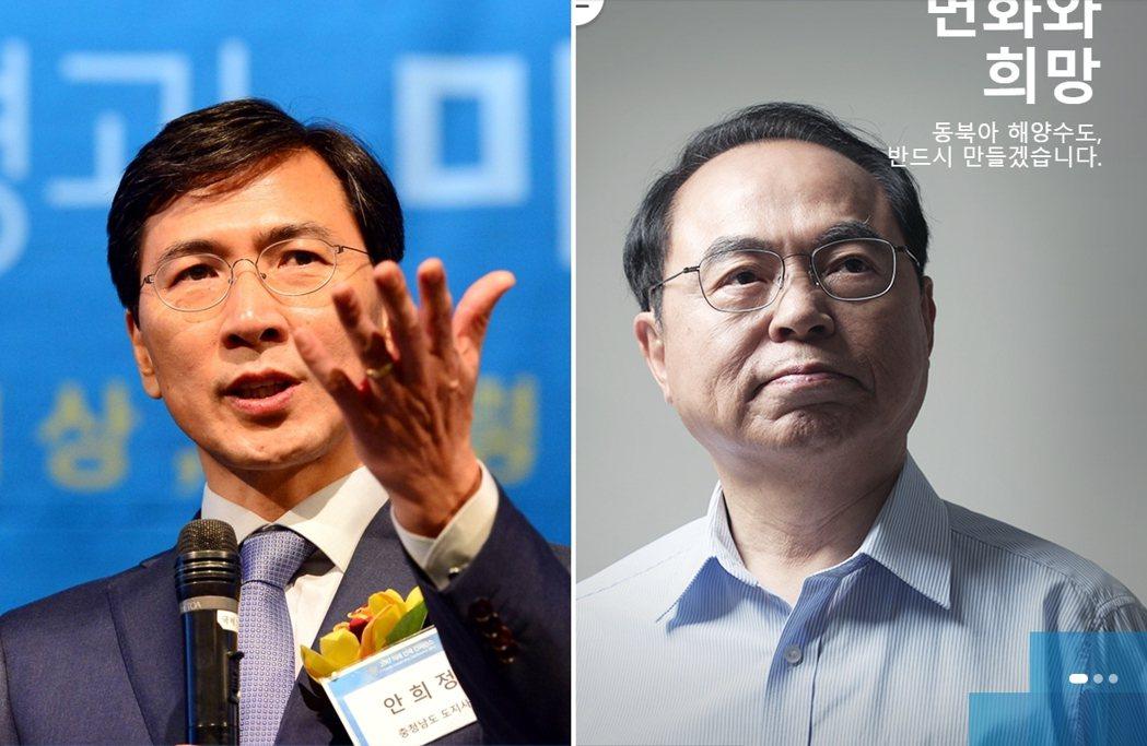 共同民主黨兩位性醜聞風暴的政治人物:安熙正(左)與吳巨敦(右)。加上朴元淳如果指...