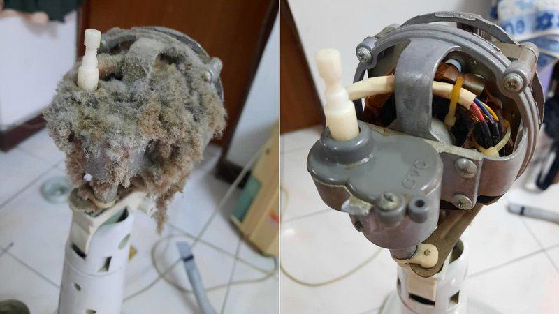 一名女網友因為家中電風扇不動,拆下來打算清潔上油,沒想到卻看到馬達卡滿了棉絮,讓她嚇了一跳。 圖/翻攝自「爆廢公社」