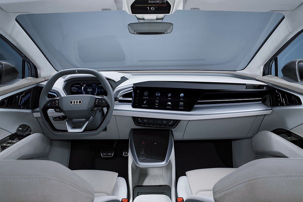 Audi Q4 Sportback e-tron concept大量運用白、米色...