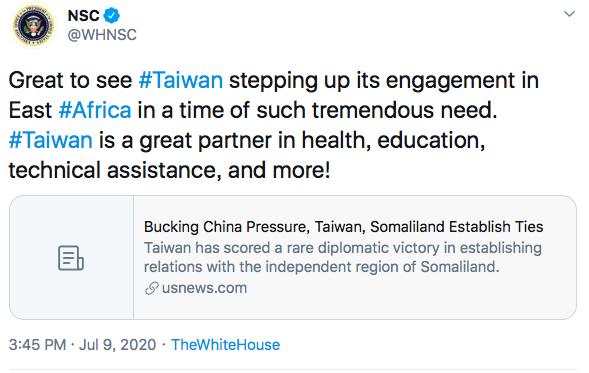 白宮國安會推文談及台灣和索馬利蘭互設代表處一事。取自推特
