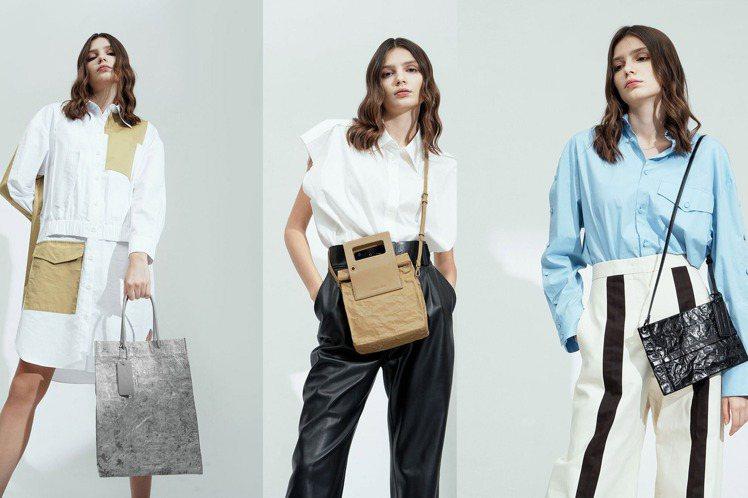 Charles & Keith今年夏天推出皺摺紙袋包系列,包身以仿牛皮紙袋的材質...