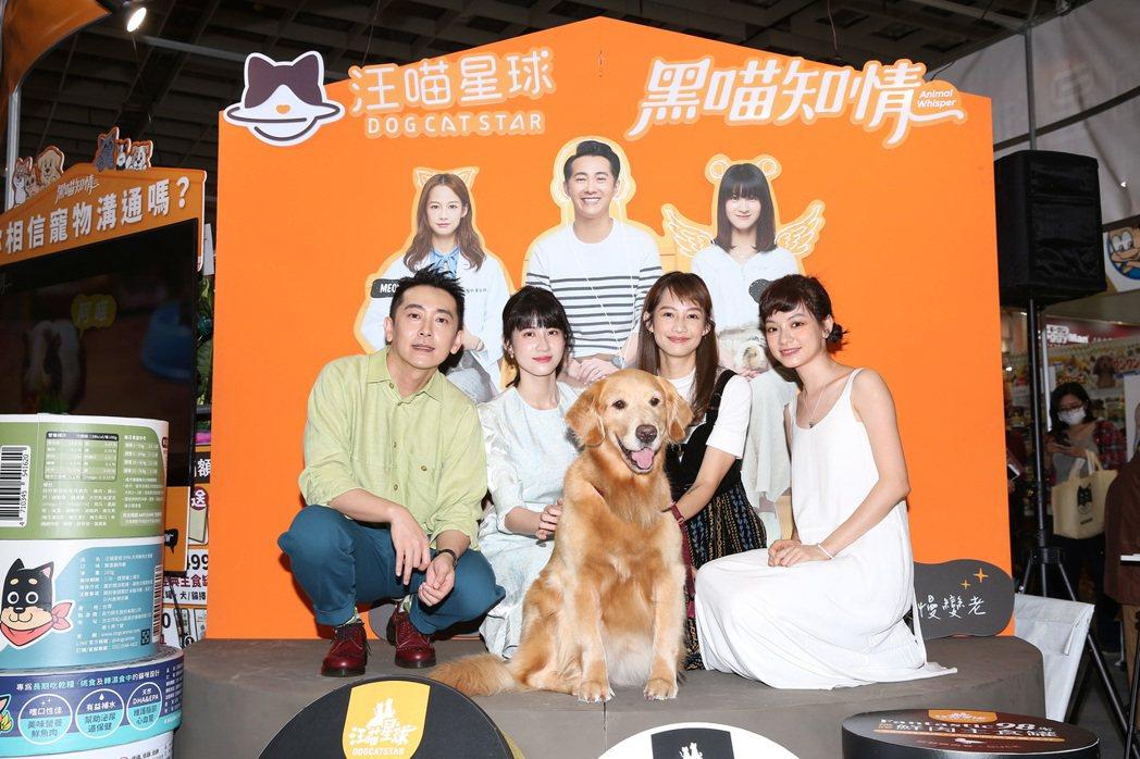 施名帥(左起)、連俞涵、簡嫚書、姚愛寗為主演「黑喵知情」宣傳出席寵物展。圖/LI...