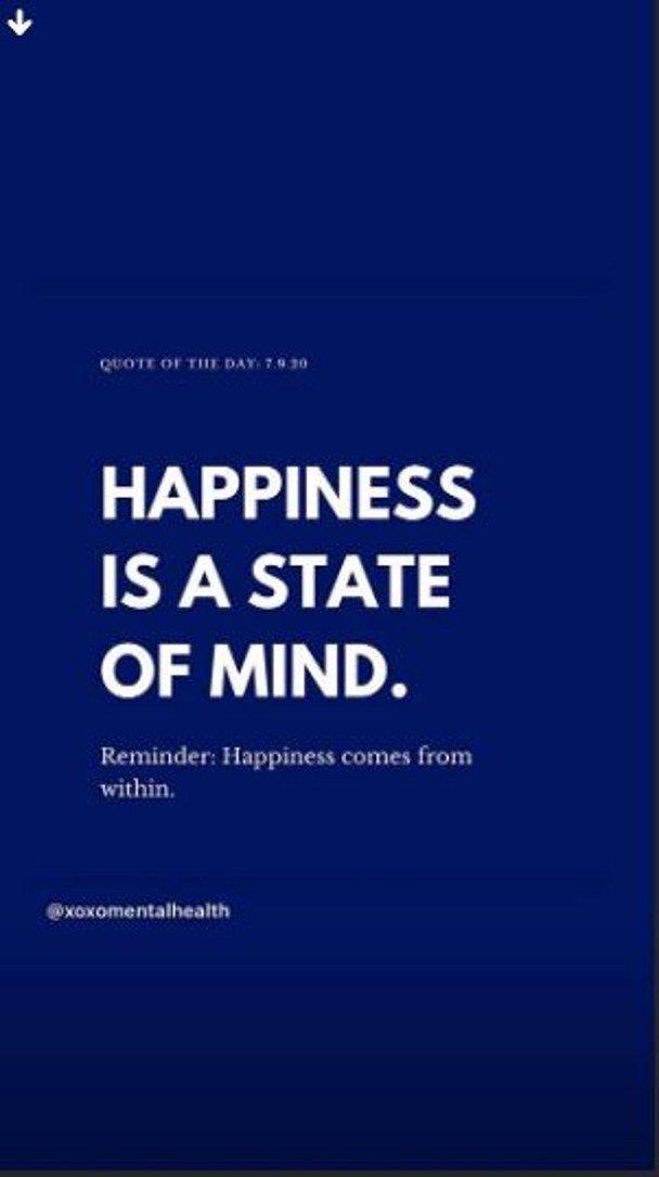 胡芷欣在IG喊話「Happiness is a state of mind(幸福...