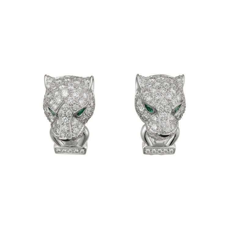卡地亞美洲豹系列鑽石耳環,約117萬元。圖/卡地亞提供