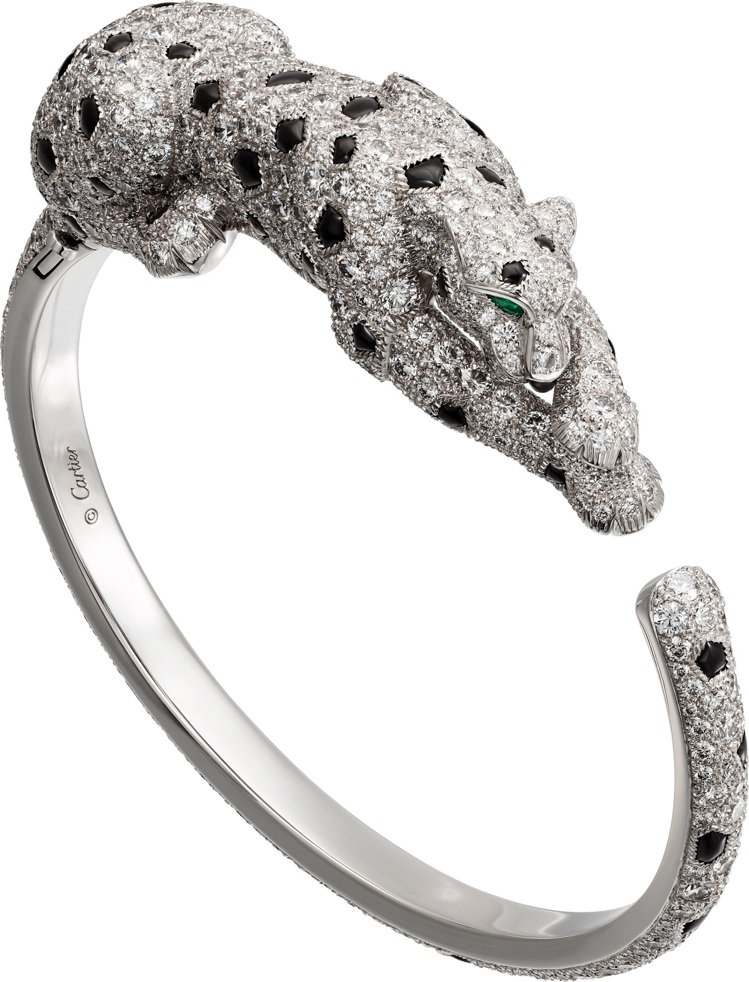 卡地亞頂級珠寶系列美洲豹手環,白K金,祖母綠豹眼,縞瑪瑙豹紋,縞瑪瑙豹鼻,鑽石,...