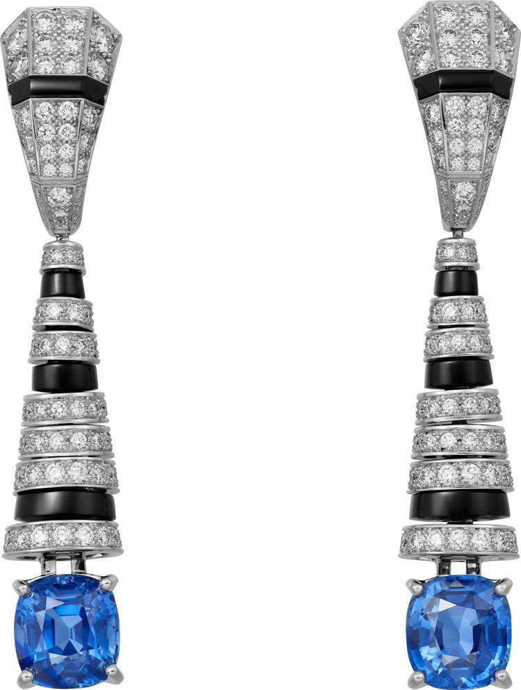 卡地亞頂級珠寶系列藍寶石耳環,鉑金,兩顆枕形切割馬達加斯加藍寶石,縞瑪瑙, 鑽石...