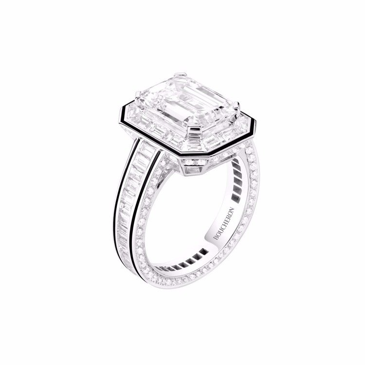 Boucheron,Liseré系列,白K金鑽戒,鑲嵌一顆祖母綠切割鑽石約4.0...
