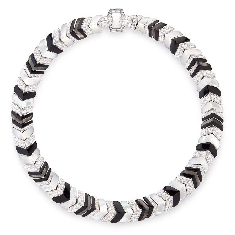 Boucheron,Vendome高級珠寶項鍊,白K金,鑲嵌鑽石、黑色縞瑪瑙、珍...