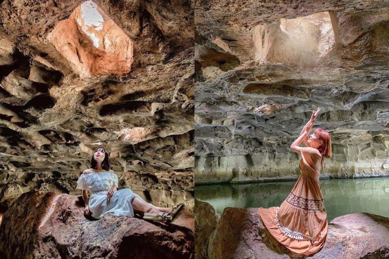 「神秘河道」洞窟場景被形容猶如電影《魔戒》畫面,全新開放的夜間遊船還可欣賞燈光燦爛版的冬山河。圖/IG@garboodiary授權、IG@princessni0107授權