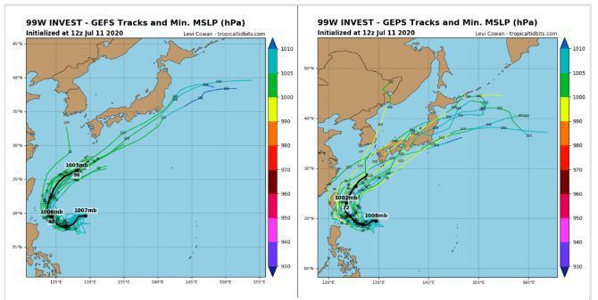 最新美國(左圖)及加拿大(右圖)系集模式模擬顯示,熱帶擾動未來在台灣東側海面呈現大迴轉路徑,有的距離台灣較遠,有的則距離甚近。強度是否會跨過輕颱標準,有不確定性。圖/取自tropical tidbits