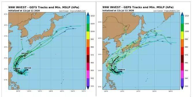 最新美國(左圖)及加拿大(右圖)系集模式模擬顯示,熱帶擾動未來在台灣東側海面呈現...
