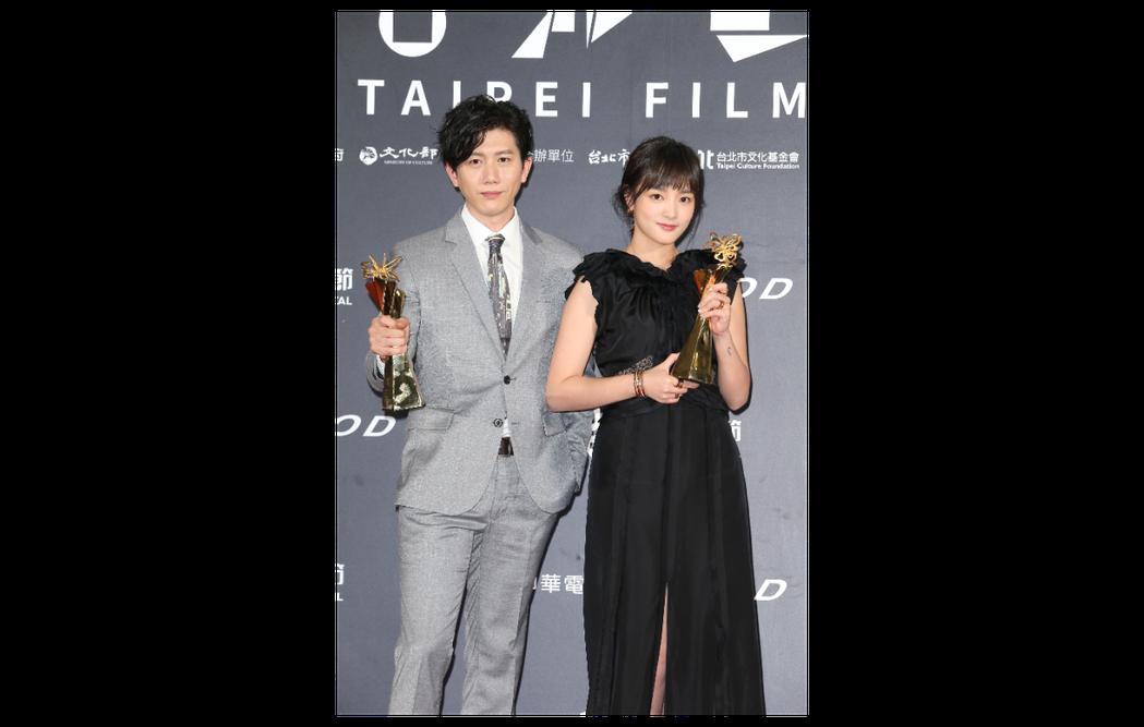 莫子儀(左)與王淨(右)分別獲得台北電影獎最佳男、女主角。記者陳立凱攝影