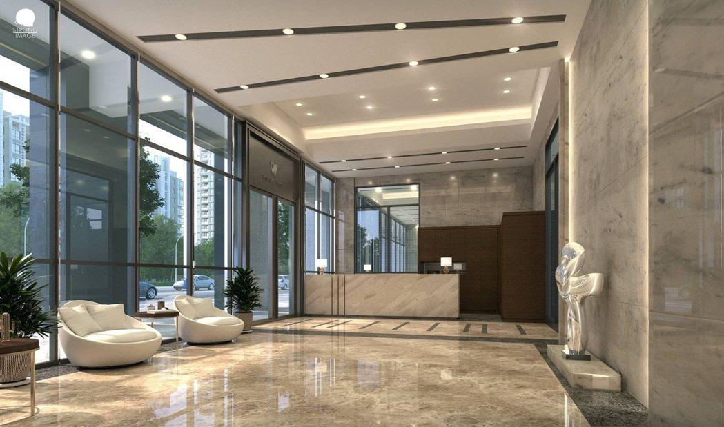 Lobby有強烈通透感。 圖片提供/匯成建設