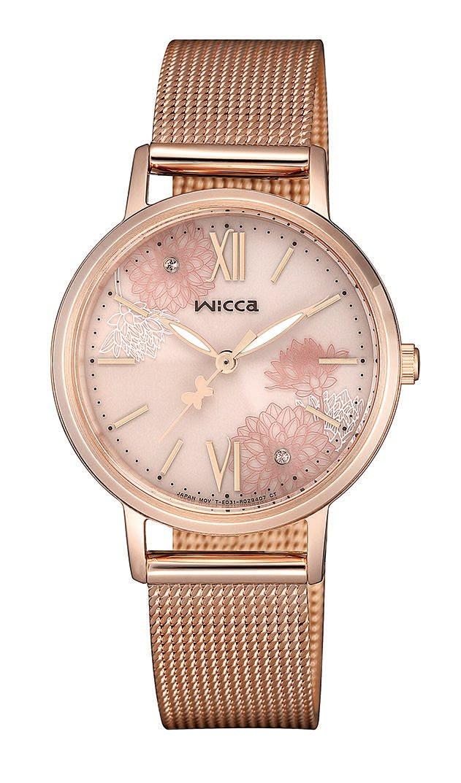 wicca KP5-166-93太陽能腕錶,不鏽鋼鍍粉紅金錶殼、米蘭帶錶鍊7,5...