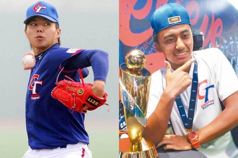 郭俊麟(左)與余謙(右)是相隔將近10年的前中華青棒隊王牌投手,今年要一起加入中職選秀。 聯合報系資料照片