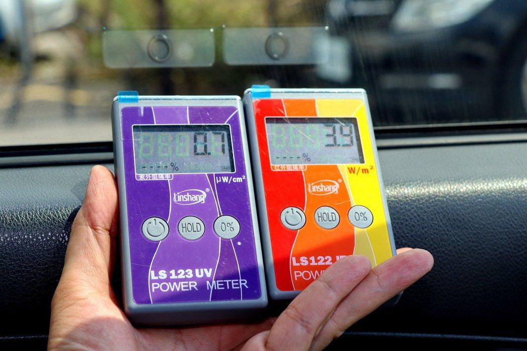 駕駛座車窗貼上更深的金屬隔熱膜後,幅照度也下降到3.9 W/m2。 記者陳威任/...