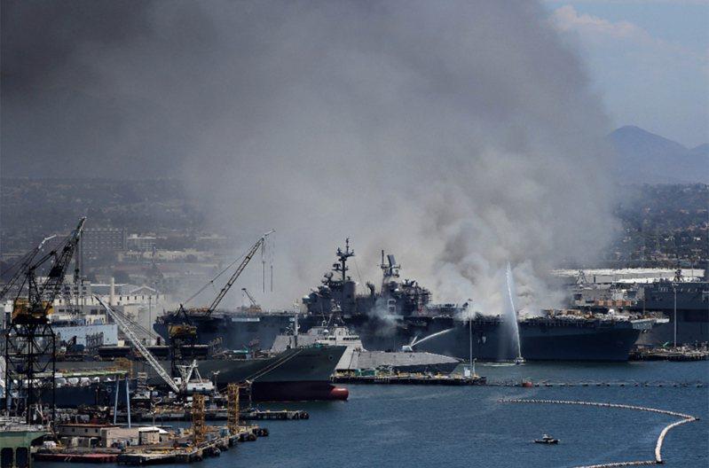 靠泊美國加州聖地牙哥海軍基地的美軍兩棲攻擊艦「好人理查號」(USS Bonhomme Richard)驚傳爆炸起火,至少18名水手受傷送醫。 法新社