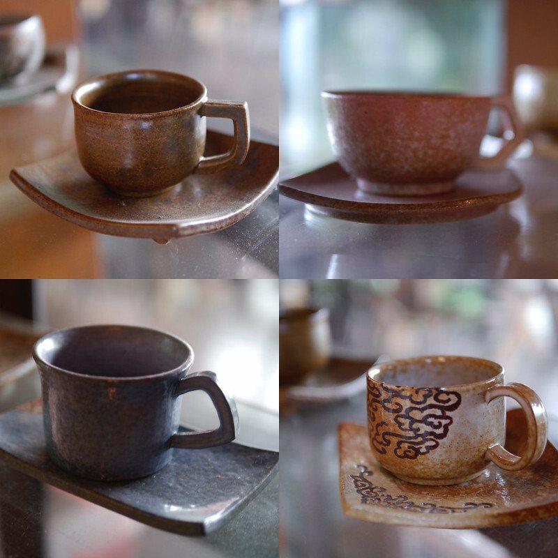 手工陶杯,每一件都是獨一的,有販售。
