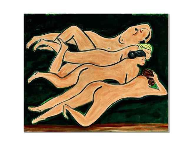 常玉的「綠色背景四裸女」。圖/蘇富比提供