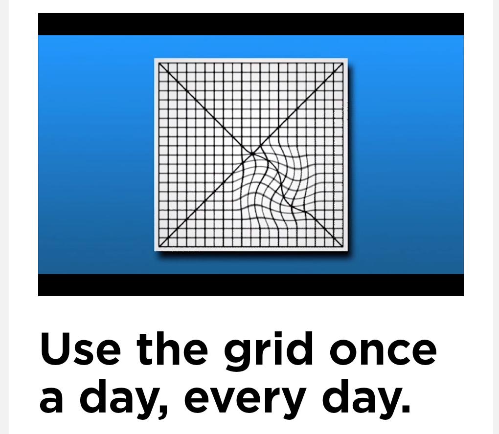 使用阿姆斯勒方格表自我檢查,正常視力方格棋盤狀呈清晰直線;若出現模糊、線條扭曲或...