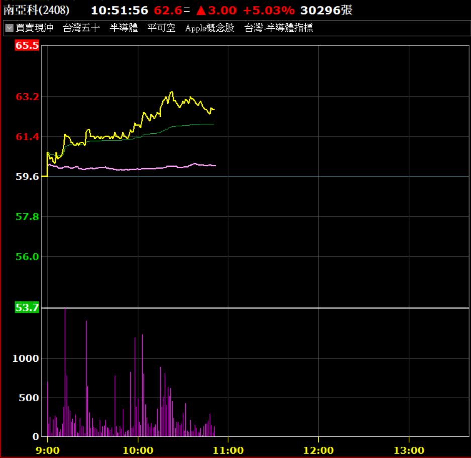 南亞科13日爆量漲。券商軟體