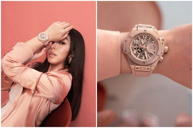 蔡詩芸於IG發布自己配戴宇舶Big Bang千禧粉腕表的影片。圖/宇舶表提供