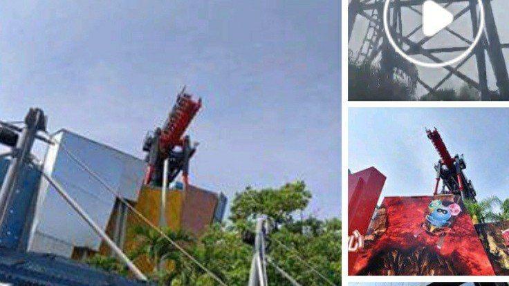 麗寶樂園斷軌遊樂器材今天中午因安全制啟動,斷軌停住,客人短暫卡在半空中。 圖/取...
