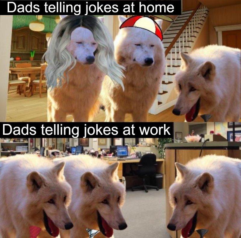 上:老爸在家笑話 下:老爸在工作場合說笑話 圖:Reddit