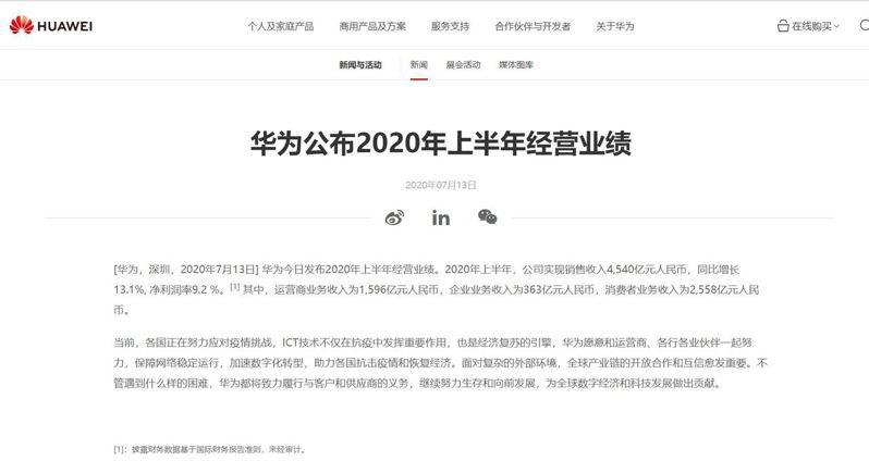 圖/華為官網截圖