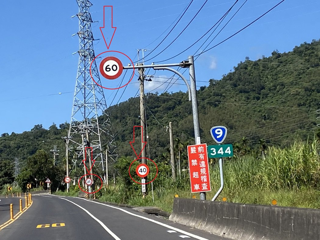 省道台9線台東初鹿段,南下344公里竟出現3種速限,從最高60公里、40公里,到...