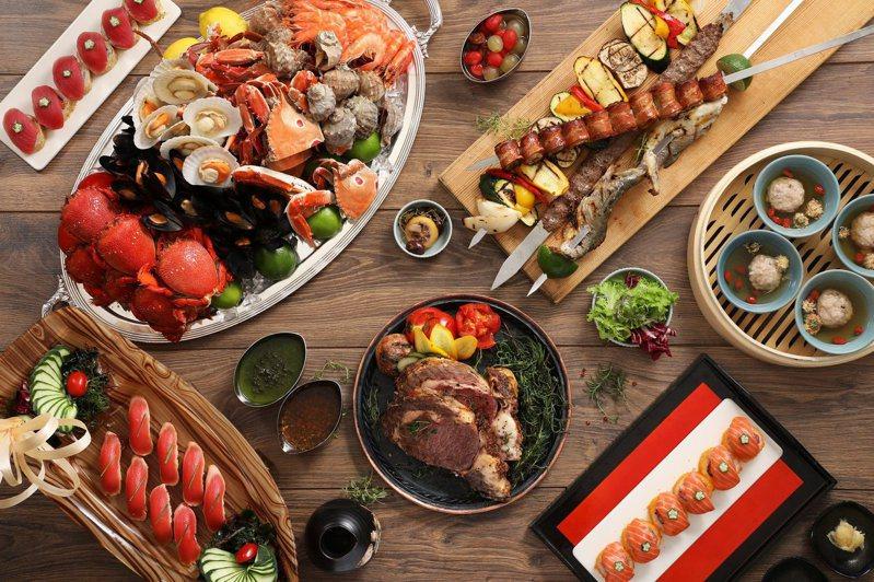 台北君悅酒店人氣自助餐廳凱菲屋,菜色豐富。圖/台北君悅酒店提供