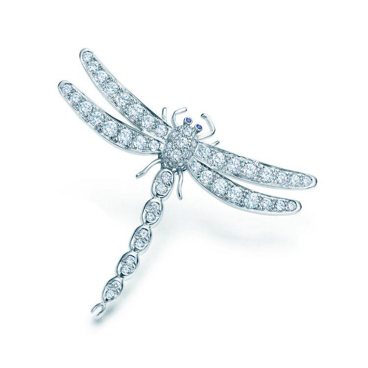 Tiffany Enchant鉑金鑲鑽與藍寶石蜻蜓胸針大型款,38萬1,000元...