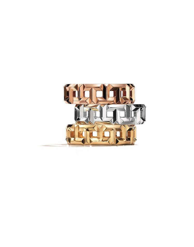 (由上至下)Tiffany T True寬版鏤空T字設計18K玫瑰金、白金、黃金...