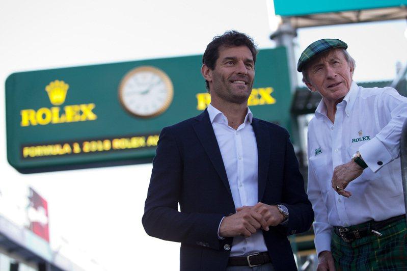 三年前退役的F1名將Mark Webber(左)與曾贏得三次世界冠軍的傳奇車手Sir Jackie Stewart(右),一同現身七月初奧地利大賽場邊。圖 / ROLEX提供。